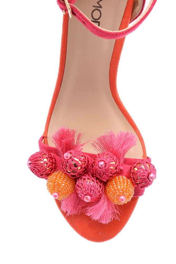 5638125654 Kadın Deri Aksesuar Detaylı Topuklu Ayakkabı