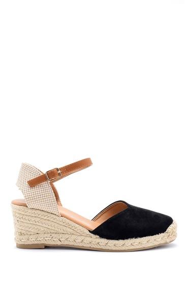 Siyah Kadın Dolgu Topuklu Sandalet 5638123709