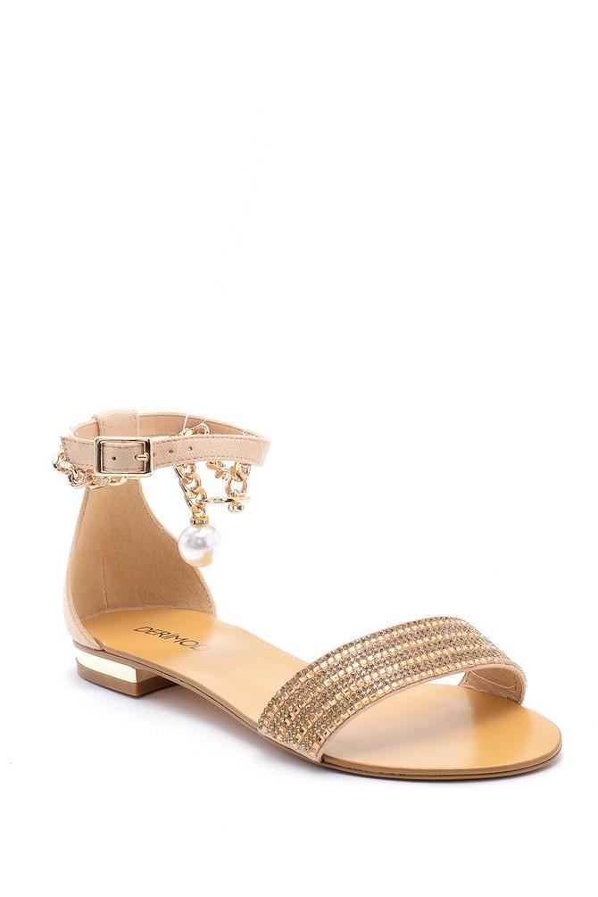 5638125540 Kadın Deri Aksesuar Detaylı Sandalet
