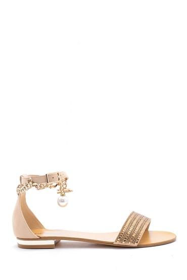 Sarı Kadın Deri Aksesuar Detaylı Sandalet 5638125540