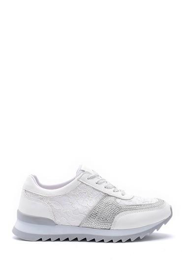Beyaz Kadın Dantel Detaylı Sneaker 5638121077