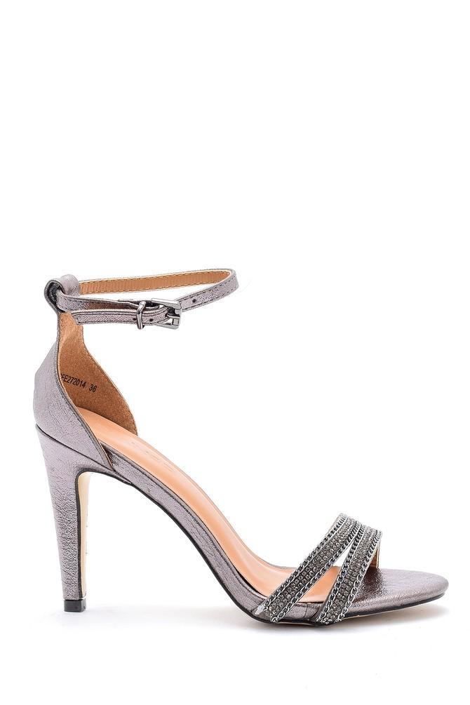 Gri Kadın Bantlı Topuklu Ayakkabı 5638125204