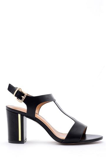 Siyah Kadın Kalın Topuklu Sandalet 5638126412