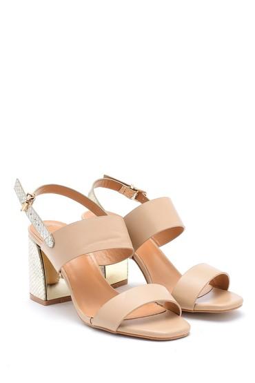 Bej Kadın Topuk Detaylı Sandalet 5638126444