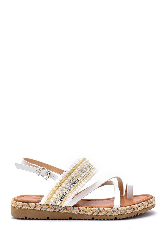 Beyaz Kadın İşlemeli Sandalet 5638131675