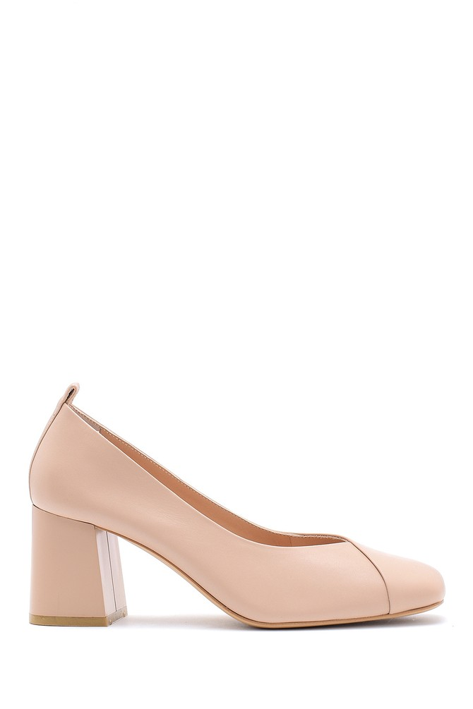 Bej Kadın Deri Kalın Topuklu Ayakkabı 5638161250
