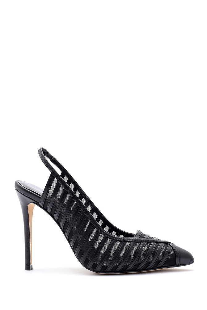 Siyah Kadın Deri Topuklu Ayakkabı 5638161396