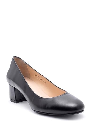 Siyah Kadın Deri Kalın Topuklu Ayakkabı 5638163178