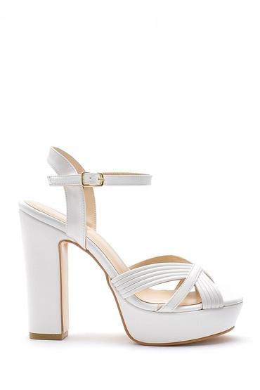 Beyaz Kadın Kalın Topuklu Ayakkabı 5638155588