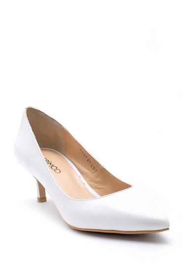 Beyaz Kadın Deri Topuklu Ayakkabı 5638163128