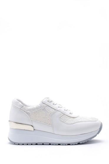 Beyaz Kadın İşleme Detaylı Sneaker 5638159484