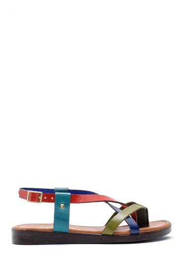 Multi Renk Kadın Renkli Deri Sandalet 5638161767