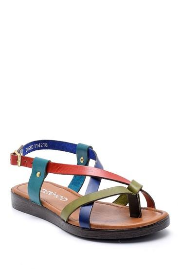 Multi Renk Kadın Renkli Deri Sandalet 5638161771
