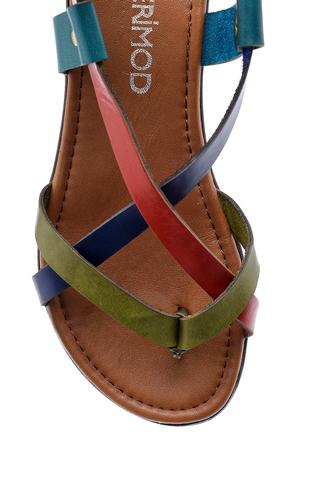 Kadın Renkli Deri Sandalet