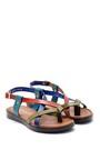 5638161767 Kadın Renkli Deri Sandalet