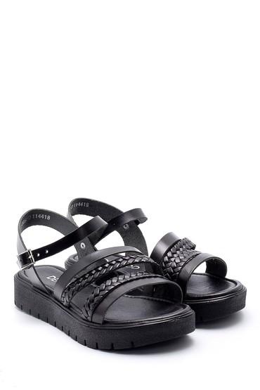 Siyah Kadın Deri Sandalet 5638161824