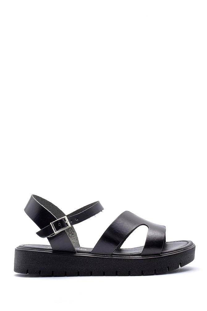 Siyah Kadın Deri Sandalet 5638161855