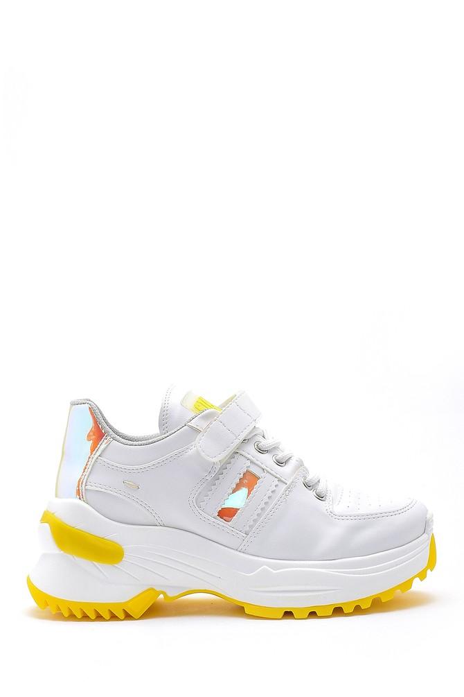 Beyaz Kadın Yüksek Tabanlı Deri Sneaker 5638175112