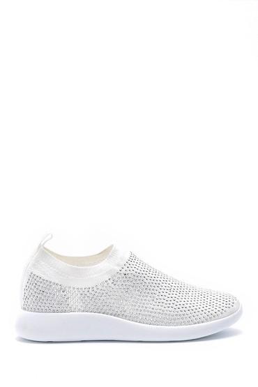 Beyaz Kadın Taş Detaylı Çorap Sneaker 5638176490