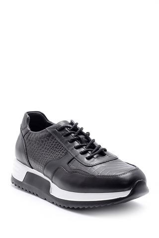 Erkek Kroko Desen Detaylı Deri Sneaker