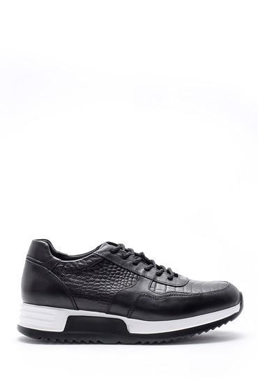 Siyah Erkek Kroko Desen Detaylı Deri Sneaker 5638143650