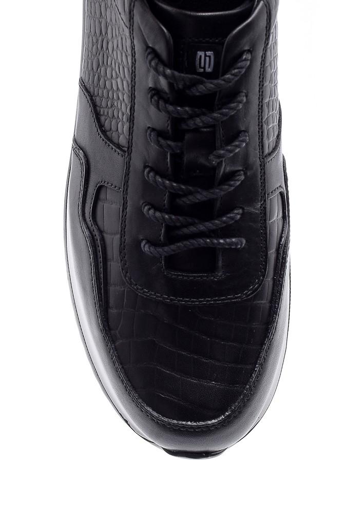 5638143650 Erkek Kroko Desen Detaylı Deri Sneaker