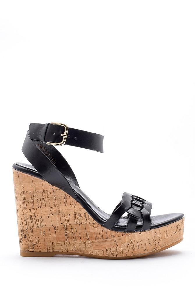 Siyah Kadın Deri Dolgu Topuklu Sandalet 5638162488