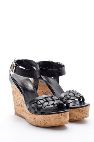 Kadın Deri Dolgu Topuklu Sandalet
