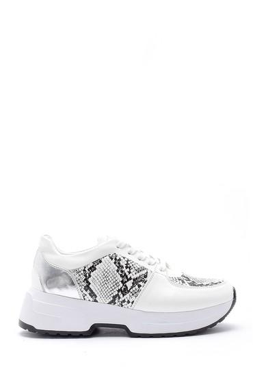Beyaz Kadn Yılan Derisi Detaylı Sneaker 5638159558