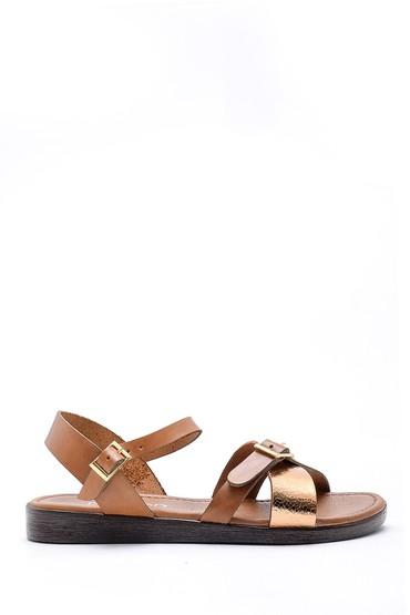 Kahverengi Kadın Deri Sandalet 5638161760