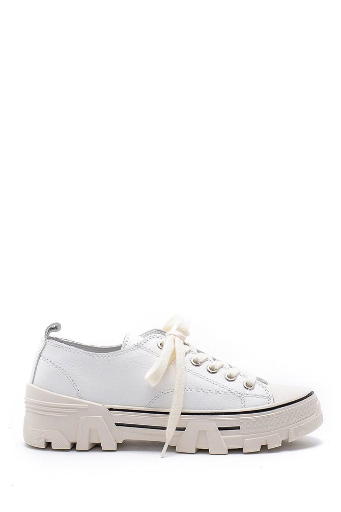 Beyaz Kadın Deri Sneaker 5638175201