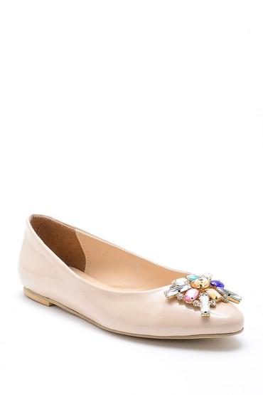 Bej Kadın Taşlı Rugan Ayakkabı 5638170659