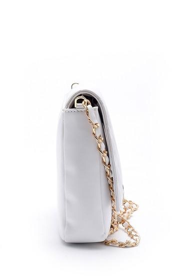 Beyaz Kadın Toka Detaylı Çapraz Çanta 5638180608