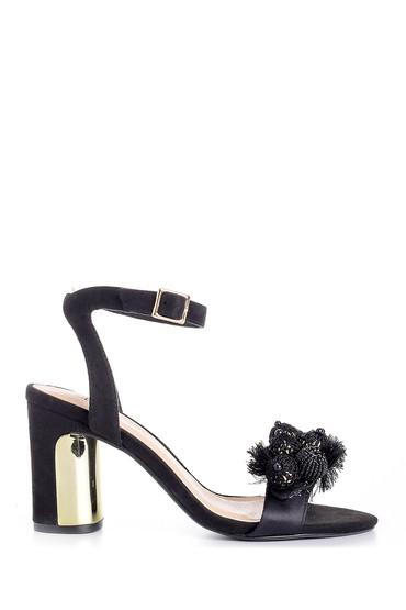 Siyah Kadın Deri Aksesuar Detaylı Topuklu Ayakkabı 5638125656