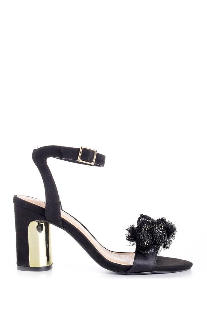 Siyah Kadın Deri Aksesuar Detaylı Topuklu Ayakkabı 5638125668