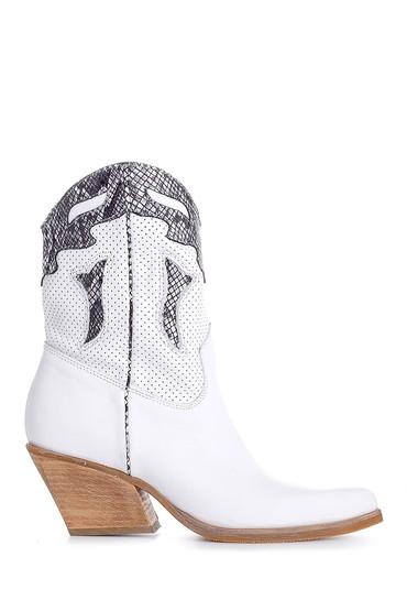 Beyaz Kadın Deri Kovboy Bot 5638178565