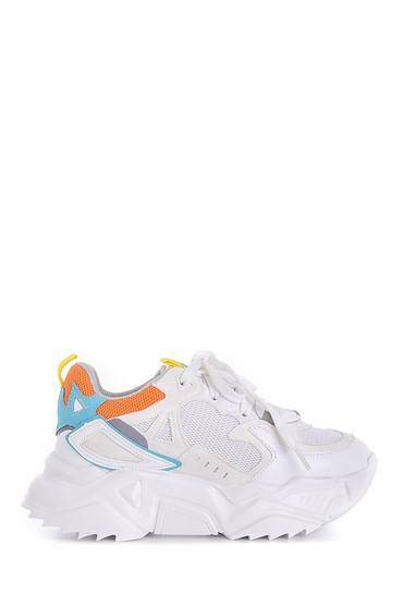 Beyaz Kadın Yüksek Tabanlı Sneaker 5638175241