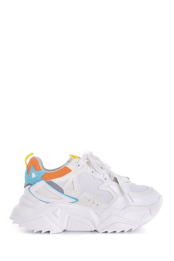 Beyaz Kadın Yüksek Tabanlı Sneaker 5638175249