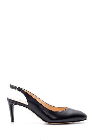 Siyah Kadın Deri Topuklu Ayakkabı 5638144002