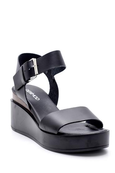 Siyah Kadın Yüksek Tabanlı Deri Sandalet 5638160615