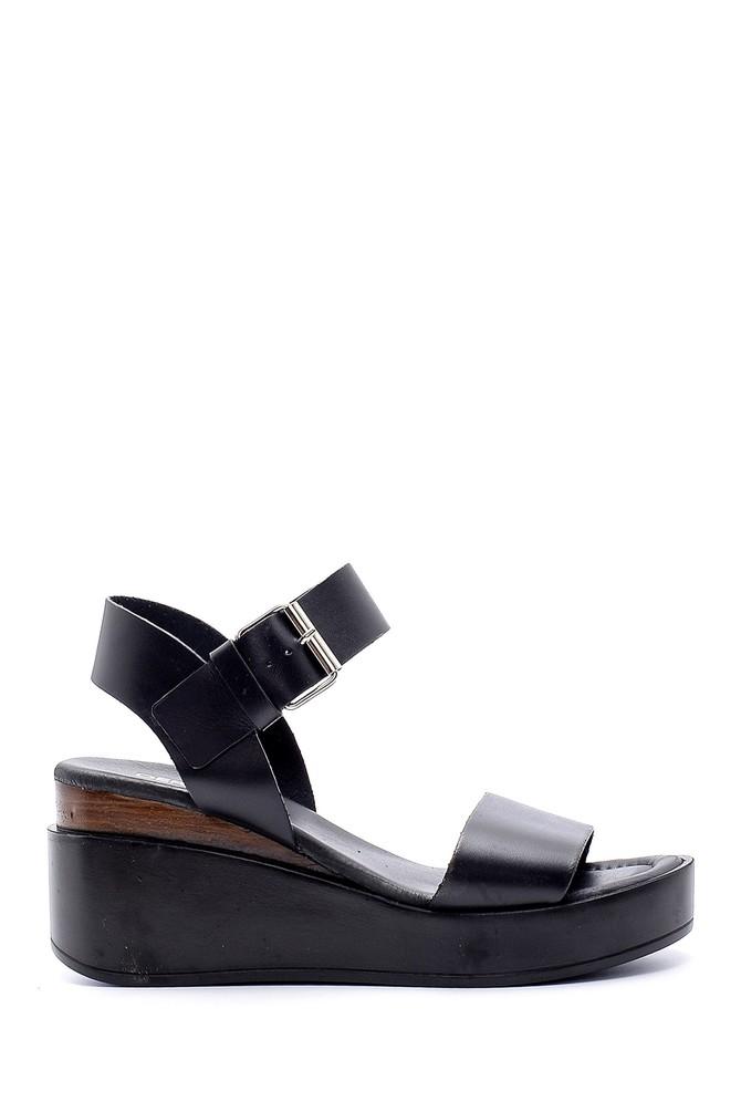 Siyah Kadın Yüksek Tabanlı Deri Sandalet 5638160623
