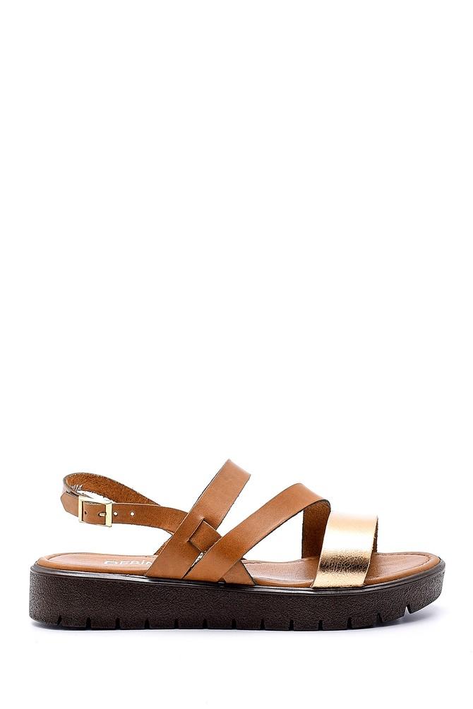 Kahverengi Kadın Deri Sandalet 5638161752