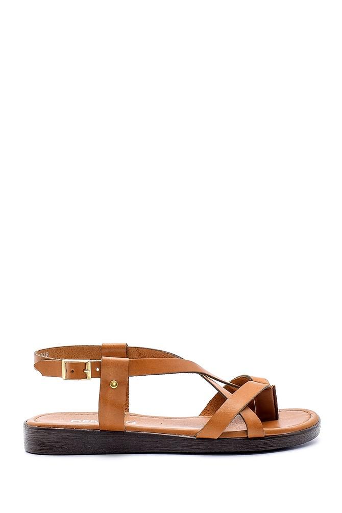 Kahverengi Kadın Renkli Deri Sandalet 5638161769
