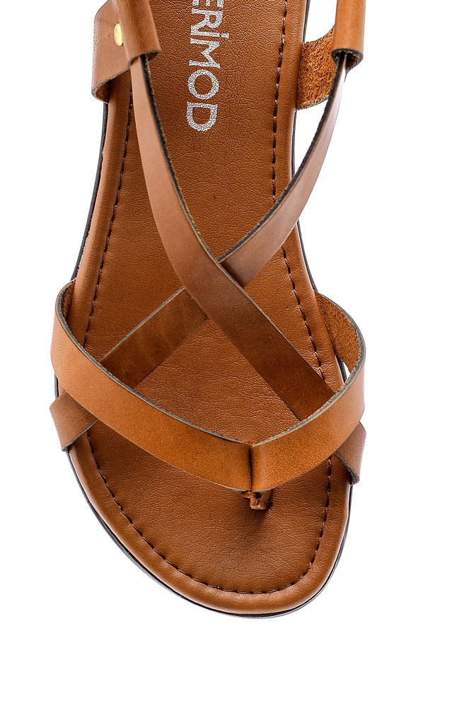 5638161769 Kadın Renkli Deri Sandalet