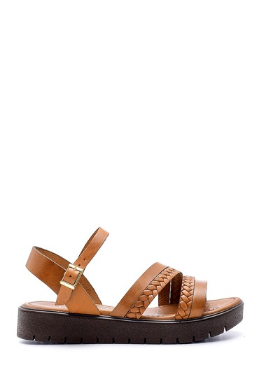 Kahverengi Kadın Deri Sandalet 5638161823