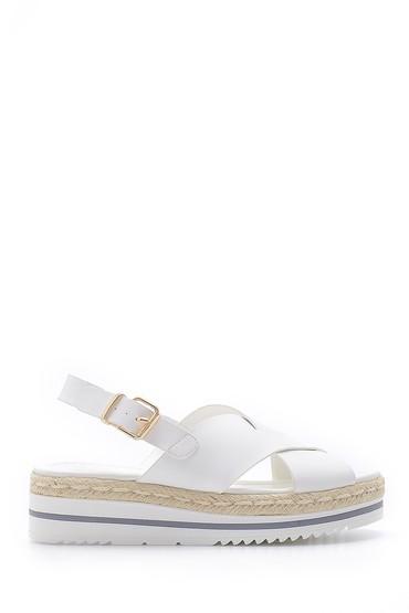 Beyaz Kadın Hasır Detaylı Sandalet 5638126243