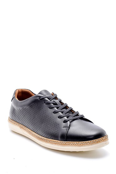 Siyah Erkek Delikli Deri Sneaker 5638146990