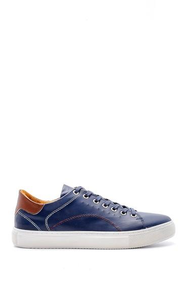 Lacivert Erkek Dikiş Detaylı Deri Sneaker 5638148393