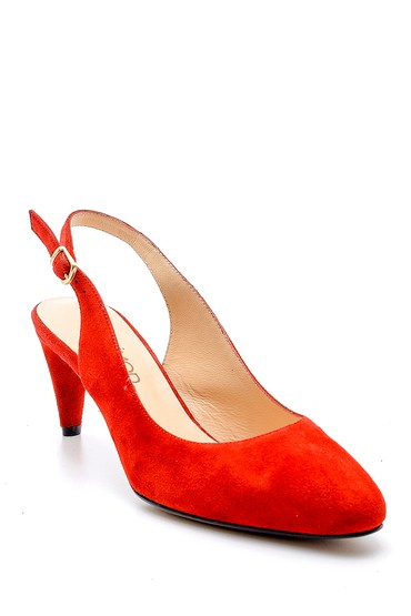 Kırmızı Kadın Süet Topuklu Ayakkabı 5638143978