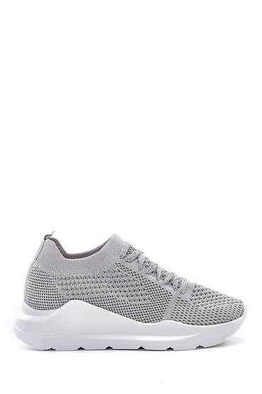 Gri Kadın Bağcıklı Çorap Sneaker 5638142117